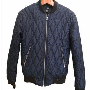 H&M Blue Bomber Zipper Jacket